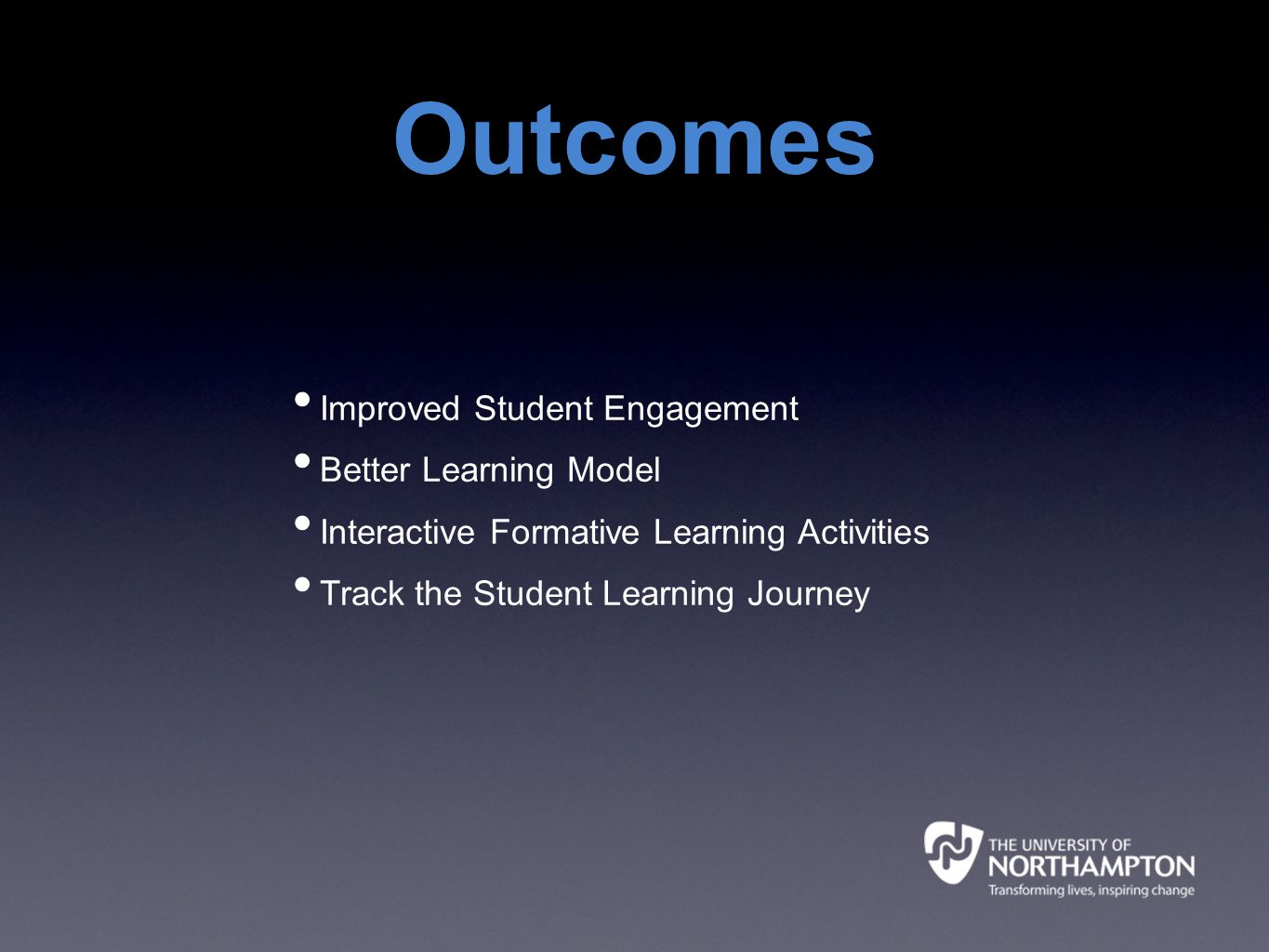 Outcomes Improved Student Engagement Better Learning Model Interactive Formative Learning Activities Track the Student Learning Journey