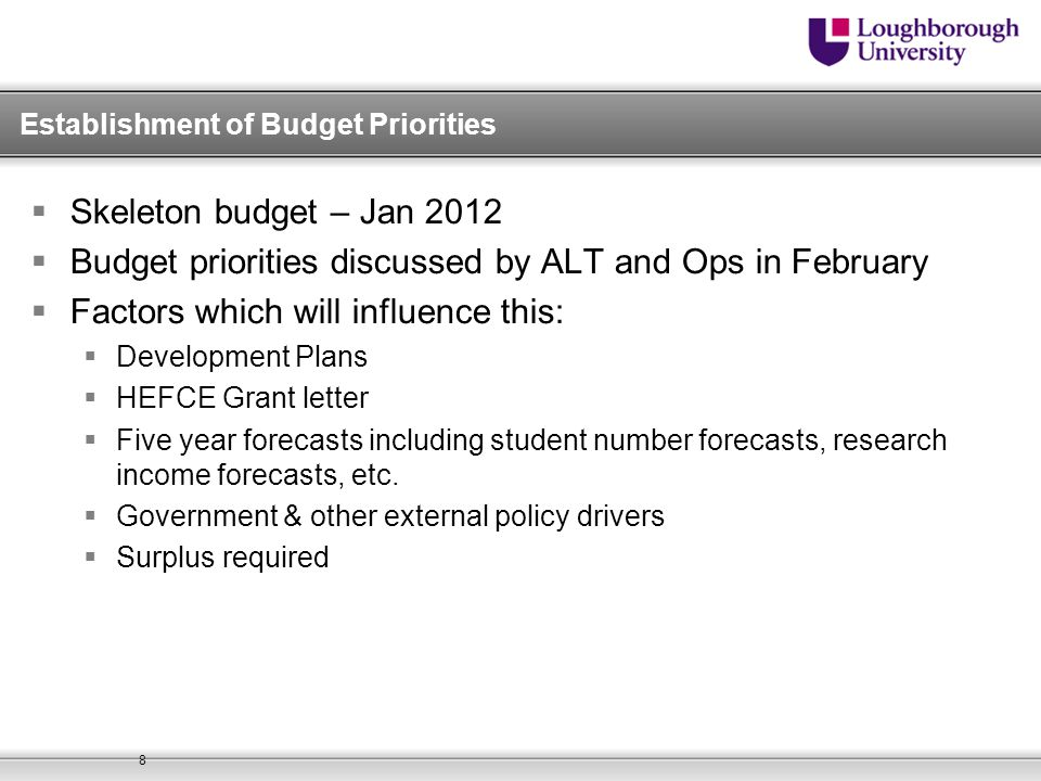Budget for 2013/14  Based on agreed business plans and support service allocations  Includes assumptions about student intakes, staff turnover, research and other sources of income  Linked to five year forecasts submitted to Council and HEFCE  Linked to Capital Framework  Sets framework within which resource requests are considered 9