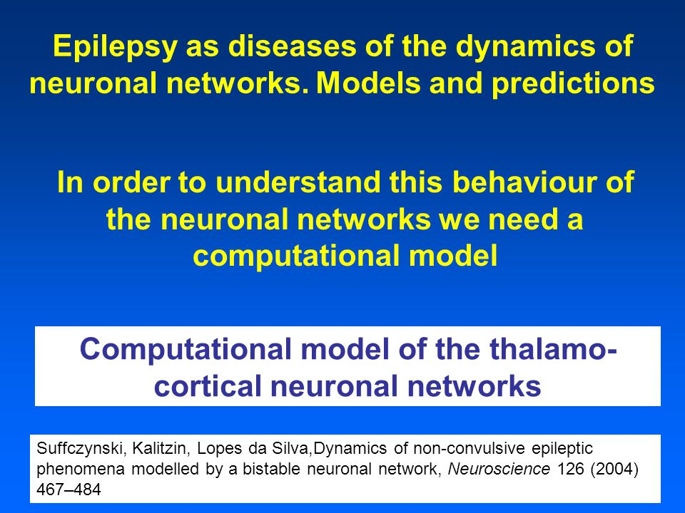 Epilepsy as diseases of the dynamics of neuronal networks.
