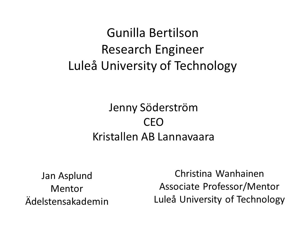Gunilla Bertilson Research Engineer Luleå University of Technology Jan Asplund Mentor Ädelstensakademin Christina Wanhainen Associate Professor/Mentor Luleå University of Technology Jenny Söderström CEO Kristallen AB Lannavaara