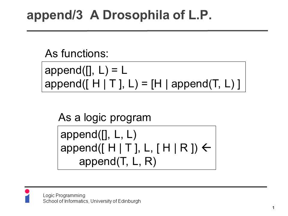 2 Logic Programming School of Informatics, University of Edinburgh append/3 A Drosophila of L.P.