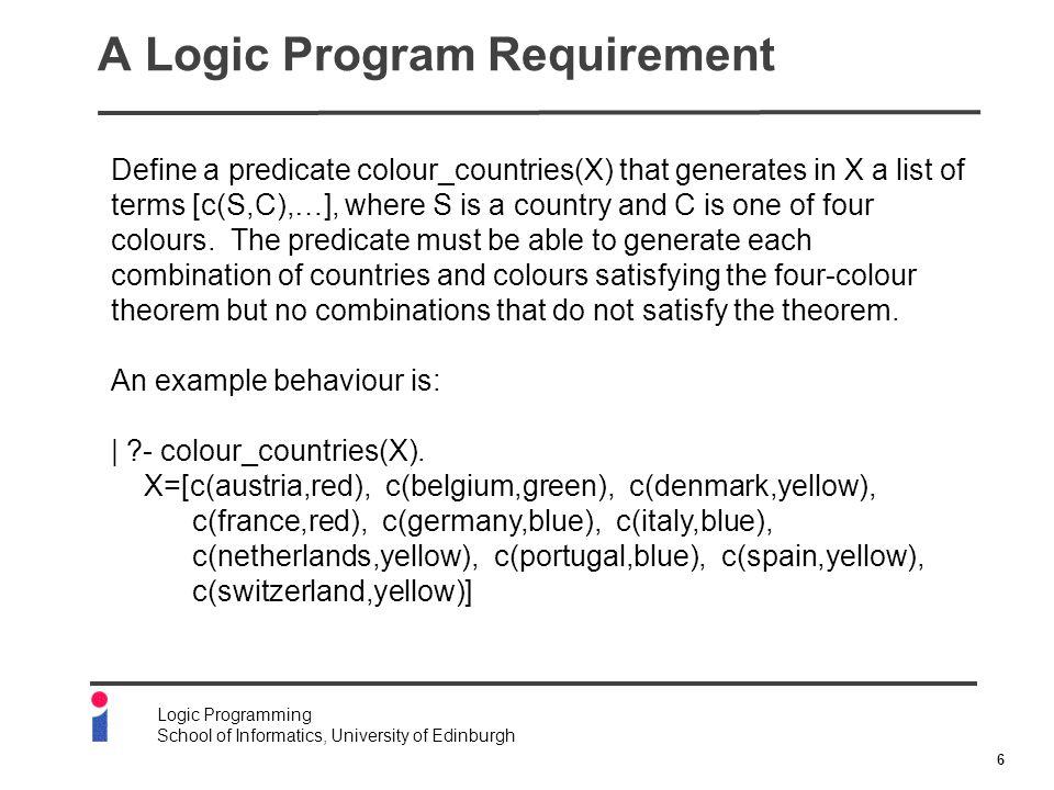 7 Logic Programming School of Informatics, University of Edinburgh A Representation of a Map ngb(portugal, [spain]).