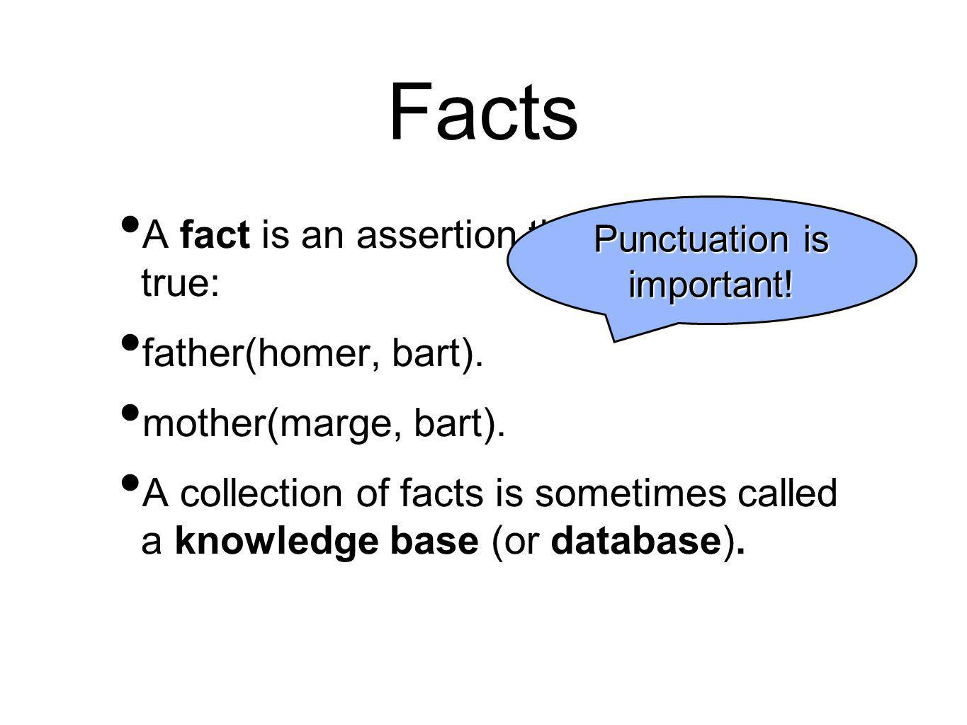 Facts A fact is an assertion that a predicate is true: father(homer, bart). mother(marge, bart). A collection of facts is sometimes called a knowledge
