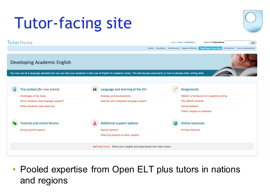 Tutor-facing site Pooled expertise from Open ELT plus tutors in nations and regions