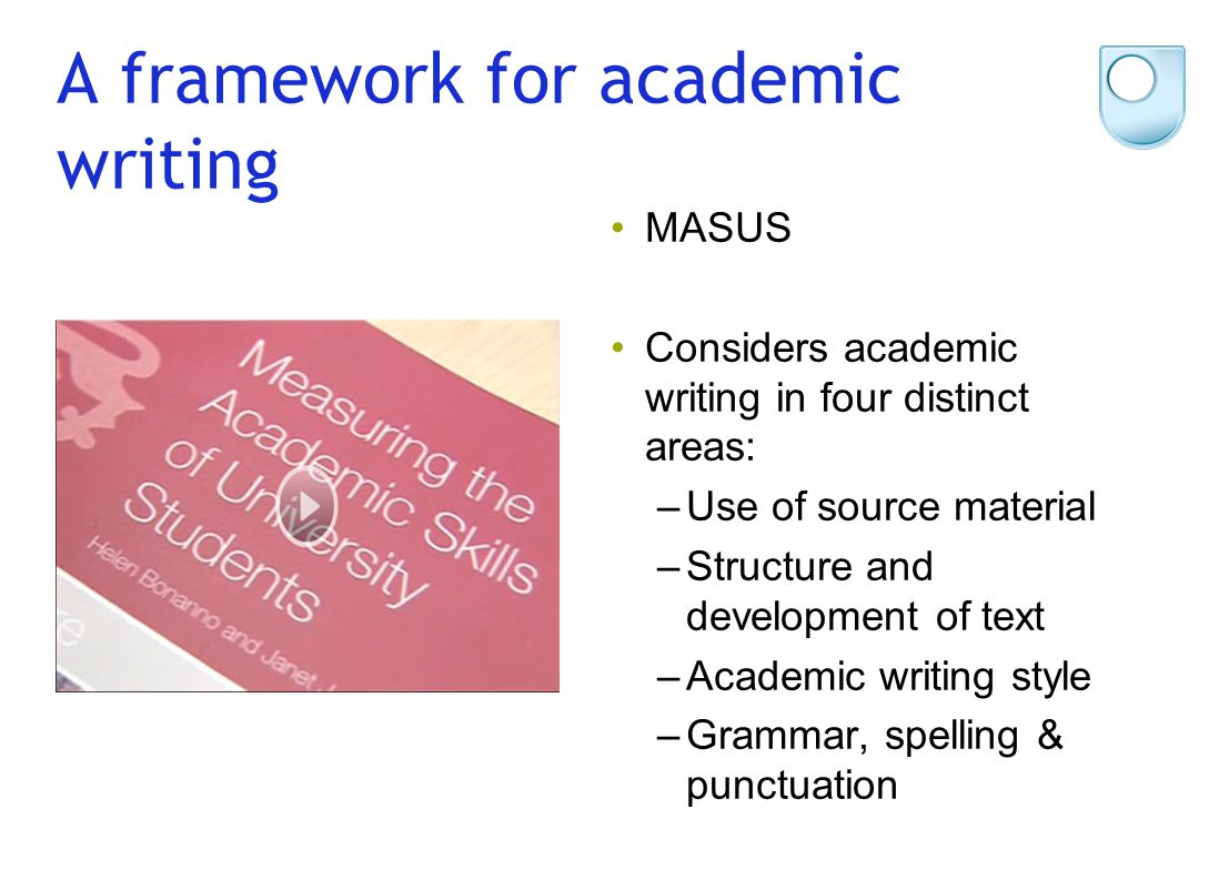 A framework for academic writing MASUS Considers academic writing in four distinct areas: –Use of source material –Structure and development of text –