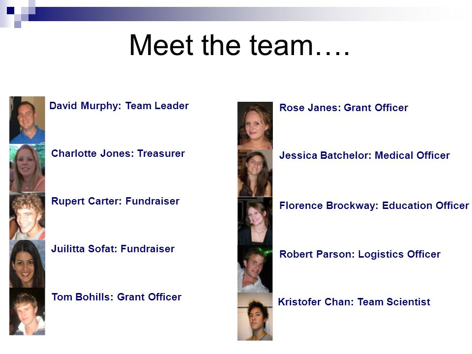 Kristofer Chan: Team Scientist Jessica Batchelor: Medical Officer Rose Janes: Grant Officer Robert Parson: Logistics Officer Florence Brockway: Educat