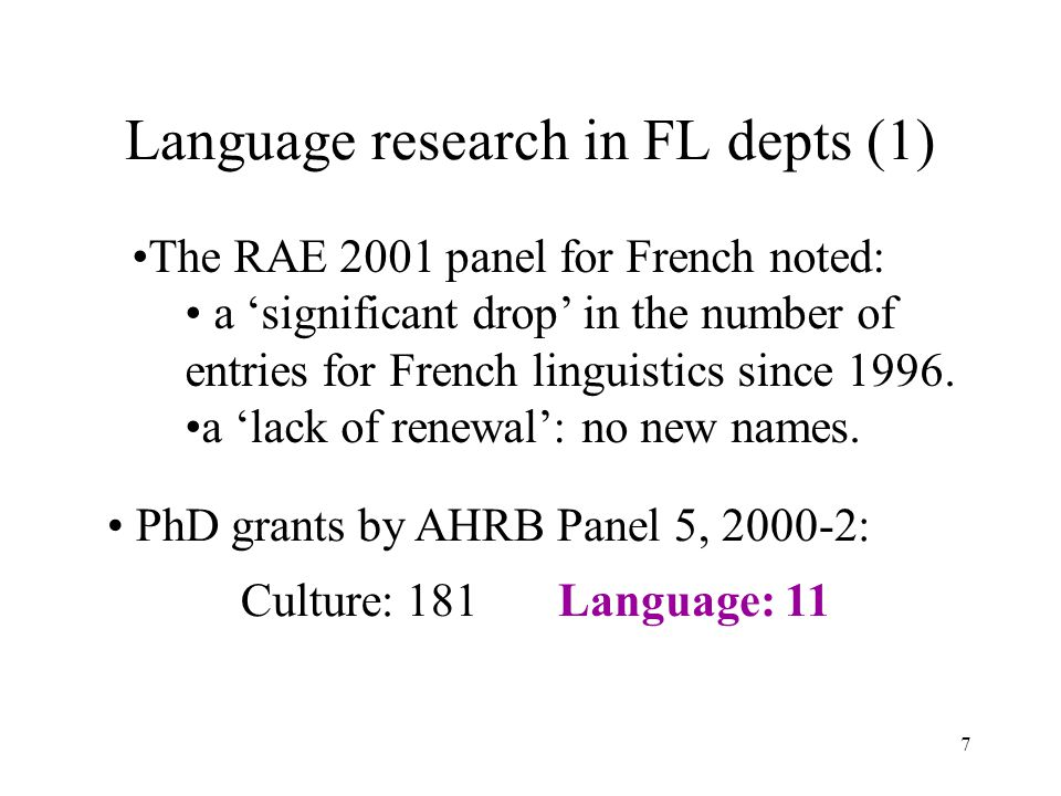 7 Language research in FL depts (1) PhD grants by AHRB Panel 5, 2000-2: Culture: 181Language: 11 The RAE 2001 panel for French noted: a 'significant drop' in the number of entries for French linguistics since 1996.