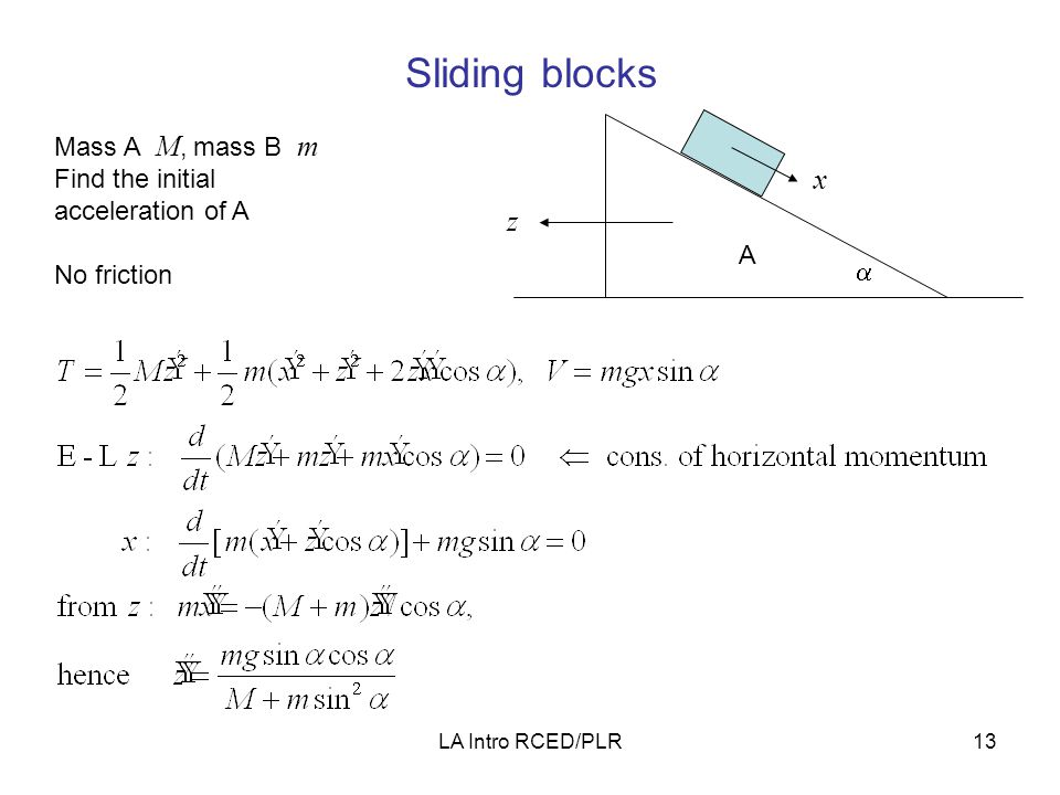 LA Intro RCED/PLR13 Sliding blocks B A  x z Mass A M, mass B m Find the initial acceleration of A No friction