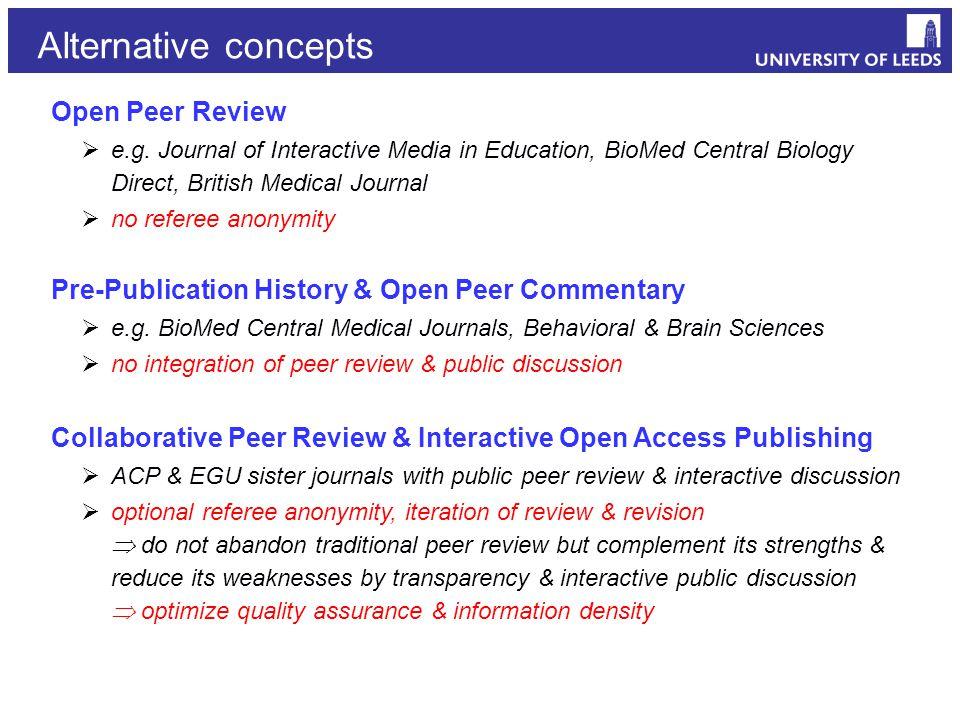 Open Peer Review  e.g.