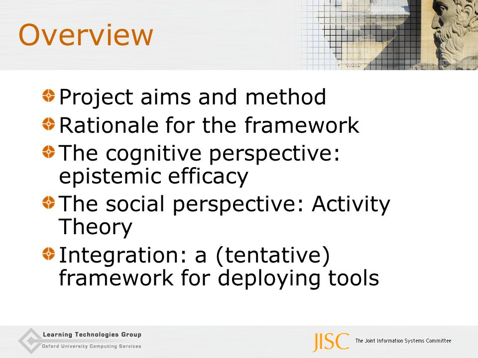 Overview Project aims and method Rationale for the framework The cognitive perspective: epistemic efficacy The social perspective: Activity Theory Int