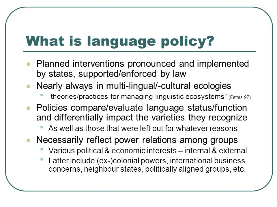 What is language policy.