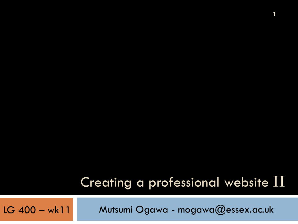 1 Creating a professional website II Mutsumi Ogawa - mogawa@essex.ac.uk LG 400 – wk11