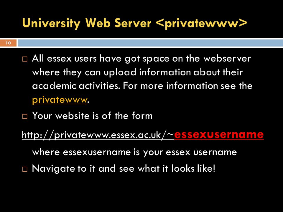 University Web Server  All essex users have got space on the webserver where they can upload information about their academic activities.