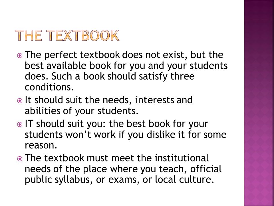  The perfect textbook does not exist, but the best available book for you and your students does.