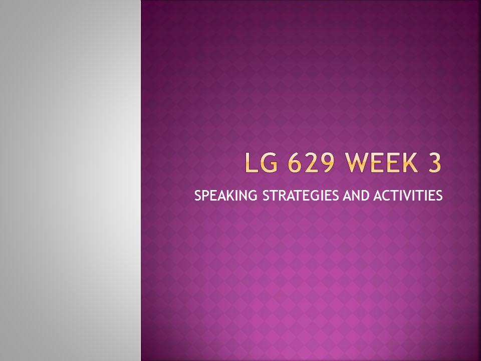 SPEAKING STRATEGIES AND ACTIVITIES