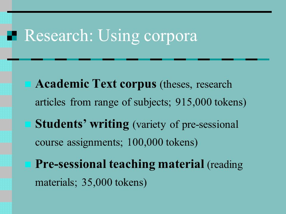 Research: Using corpora Academic Text corpus (theses, research articles from range of subjects; 915,000 tokens) Students' writing (variety of pre-sessional course assignments; 100,000 tokens) Pre-sessional teaching material (reading materials; 35,000 tokens)