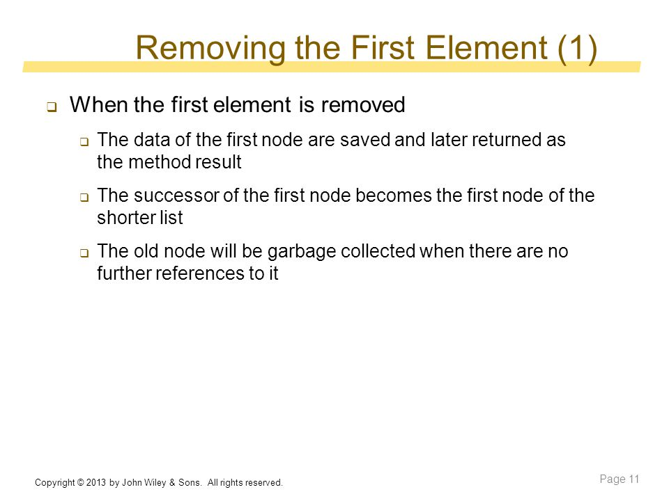 Removing the First Element (1) Copyright © 2013 by John Wiley & Sons.