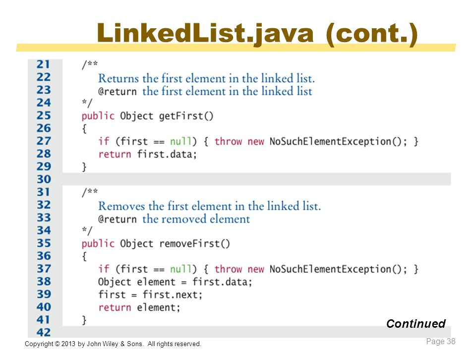 LinkedList.java (cont.) Copyright © 2013 by John Wiley & Sons.