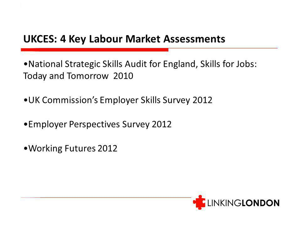UKCES: 4 Key Labour Market Assessments National Strategic Skills Audit for England, Skills for Jobs: Today and Tomorrow 2010 UK Commission's Employer Skills Survey 2012 Employer Perspectives Survey 2012 Working Futures 2012
