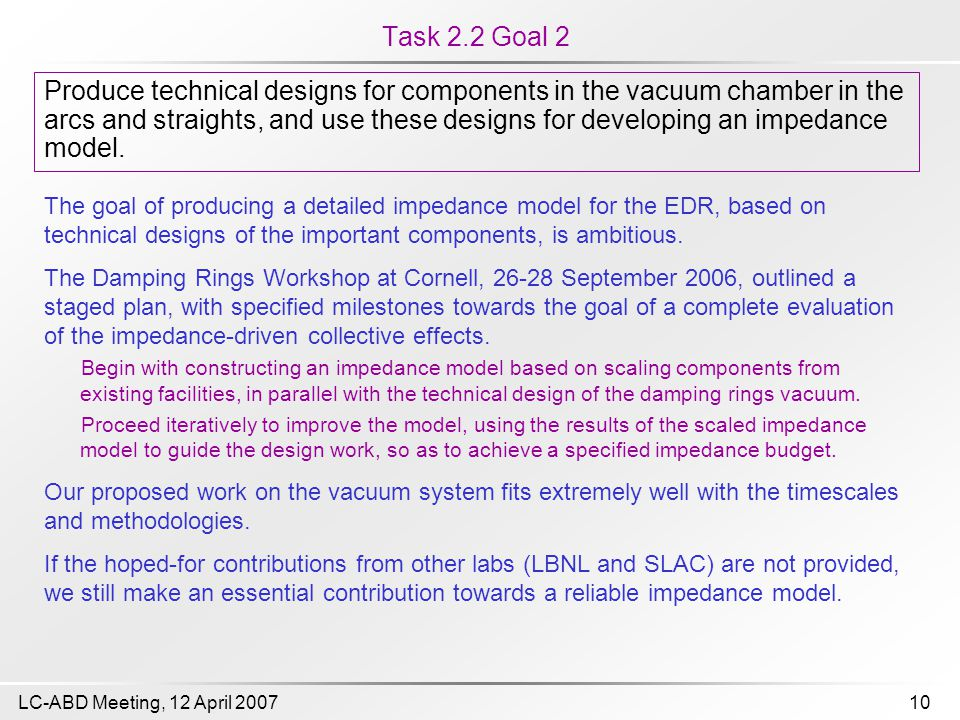 10LC-ABD Meeting, 12 April 2007 Task 2.2 Goal 2 The goal of producing a detailed impedance model for the EDR, based on technical designs of the important components, is ambitious.