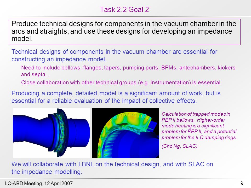 9LC-ABD Meeting, 12 April 2007 Task 2.2 Goal 2 Produce technical designs for components in the vacuum chamber in the arcs and straights, and use these designs for developing an impedance model.