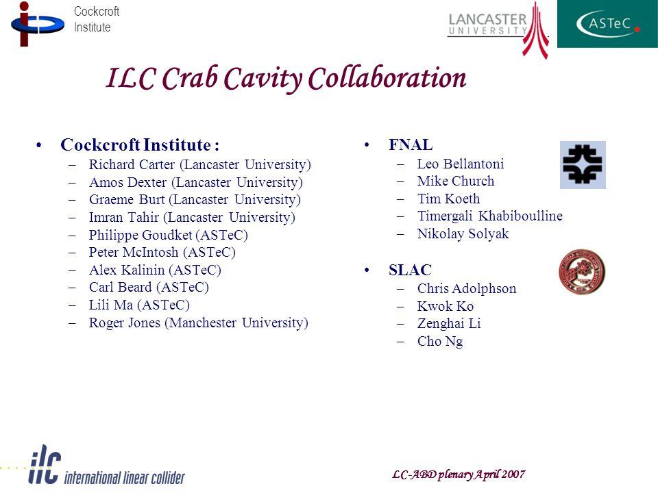 Cockcroft Institute LC-ABD plenary April 2007 ILC Crab Cavity Collaboration Cockcroft Institute : –Richard Carter (Lancaster University) –Amos Dexter (Lancaster University) –Graeme Burt (Lancaster University) –Imran Tahir (Lancaster University) –Philippe Goudket (ASTeC) –Peter McIntosh (ASTeC) –Alex Kalinin (ASTeC) –Carl Beard (ASTeC) –Lili Ma (ASTeC) –Roger Jones (Manchester University) FNAL –Leo Bellantoni –Mike Church –Tim Koeth –Timergali Khabiboulline –Nikolay Solyak SLAC –Chris Adolphson –Kwok Ko –Zenghai Li –Cho Ng