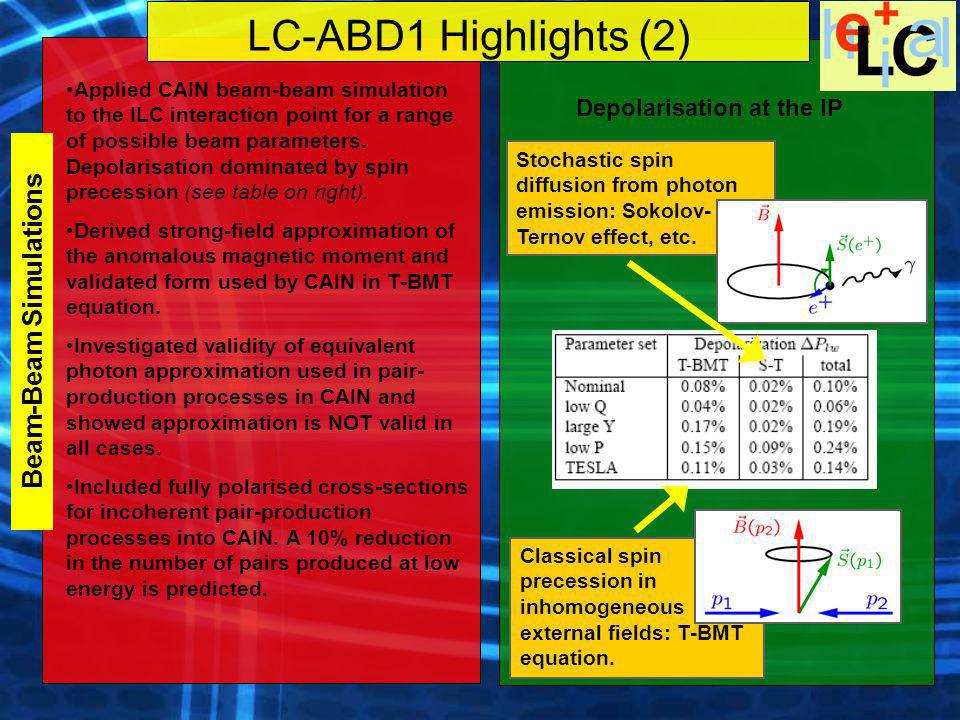 LC-ABD1 Highlights (3) Incoherent pair-production dominates at ILC energies Polarised cross-sections for incoherent Breit-Wheeler pair production added to CAIN: Equivalent Photon Approximation requires proper treatment of initial and final state polarisation.