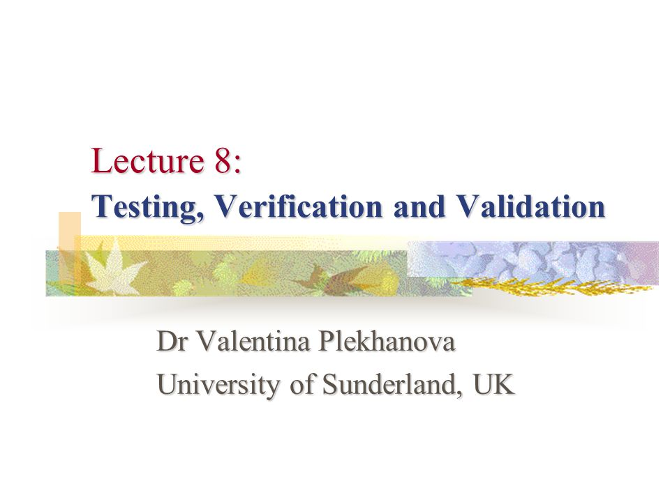 Lecture 8Valentina Plekhanova 22 Black Box Testing incorrect or missing functions; interface errors; errors in data structures or external database access; performance errors; initialisation and termination errors.