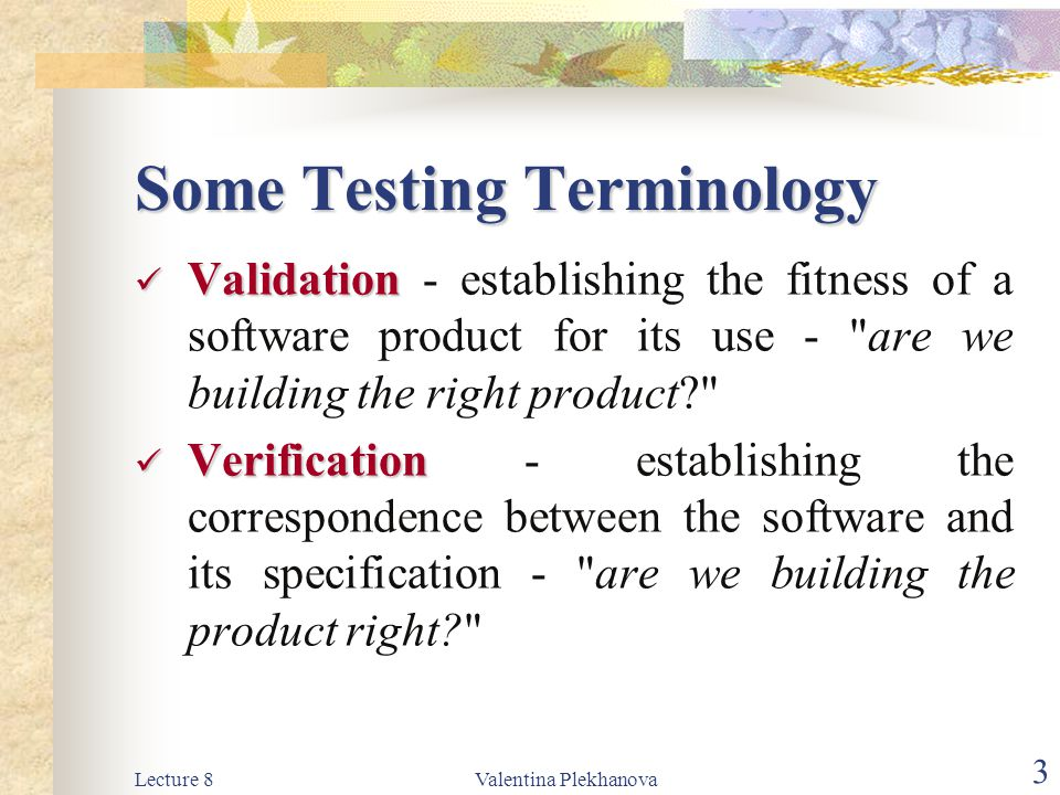 Lecture 8Valentina Plekhanova 24 Tests are designed to answer the following questions: How is the function s validity tested.