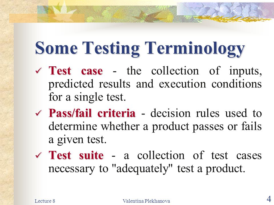 Lecture 8Valentina Plekhanova 15 The Testing Process: The Testing Process: System Testing System Testing System Testing: The testing process is concerned with finding errors, which normally result from unanticipated interactions between sub-systems and components.