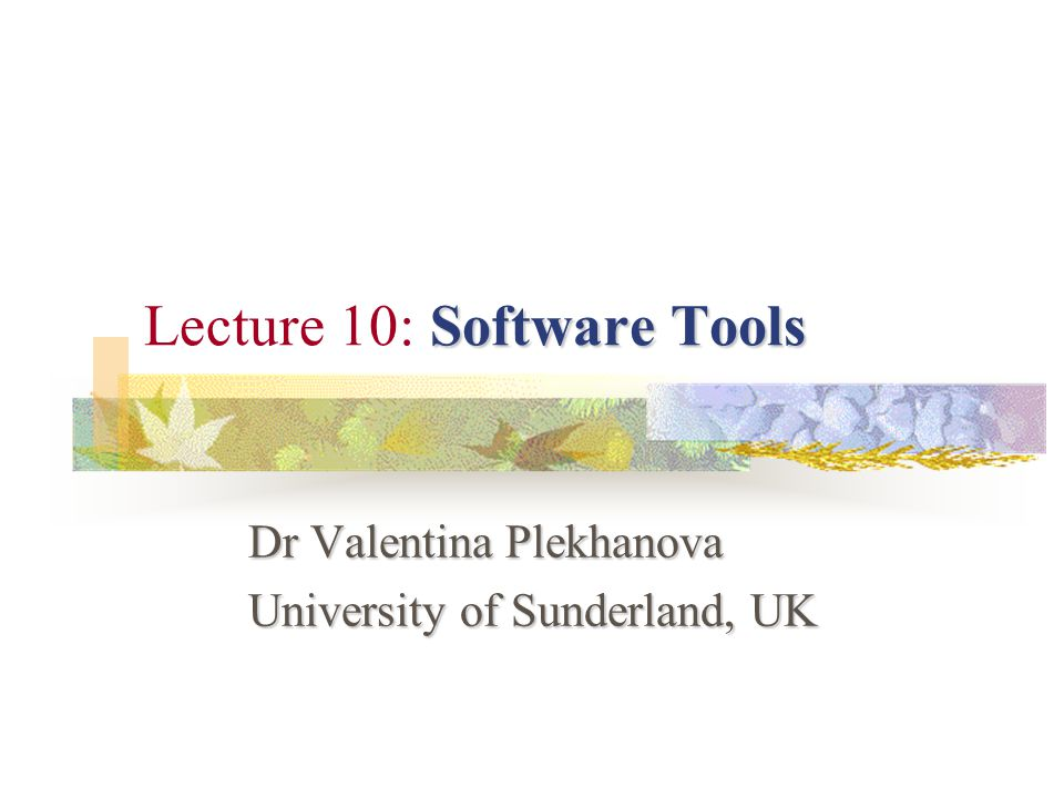 Software Tools Lecture 10: Software Tools Dr Valentina Plekhanova University of Sunderland, UK