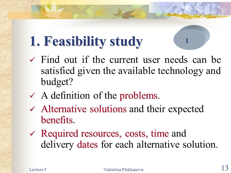 Lecture 5Valentina Plekhanova 13 1. Feasibility study Find out if the current user needs can be satisfied given the available technology and budget? p