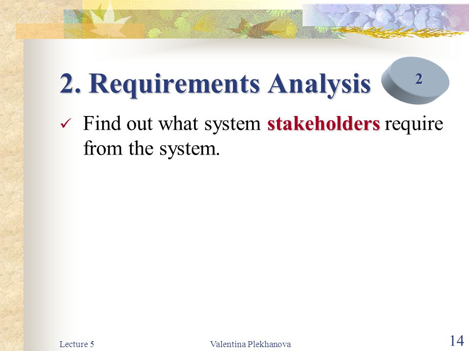 Lecture 5Valentina Plekhanova 14 2. Requirements Analysis stakeholders Find out what system stakeholders require from the system. 2