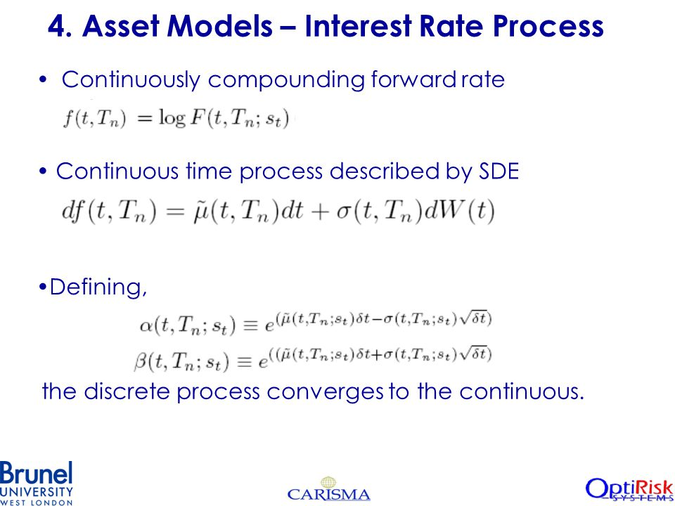 4. Asset Models – Interest Rate Process Continuously compounding forward rate Continuous time process described by SDE Defining, the discrete process