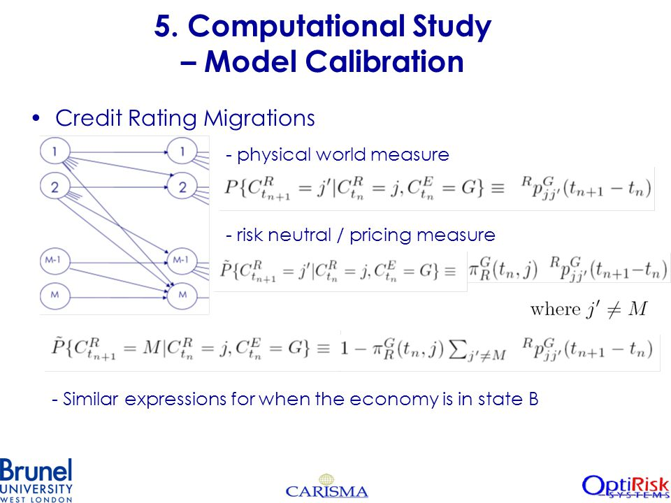 5. Computational Study – Model Calibration Credit Rating Migrations - physical world measure - risk neutral / pricing measure - Similar expressions fo
