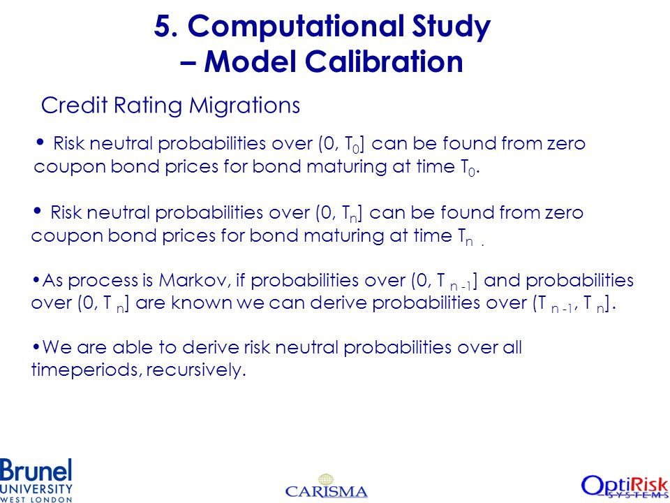 5. Computational Study – Model Calibration Risk neutral probabilities over (0, T 0 ] can be found from zero coupon bond prices for bond maturing at ti
