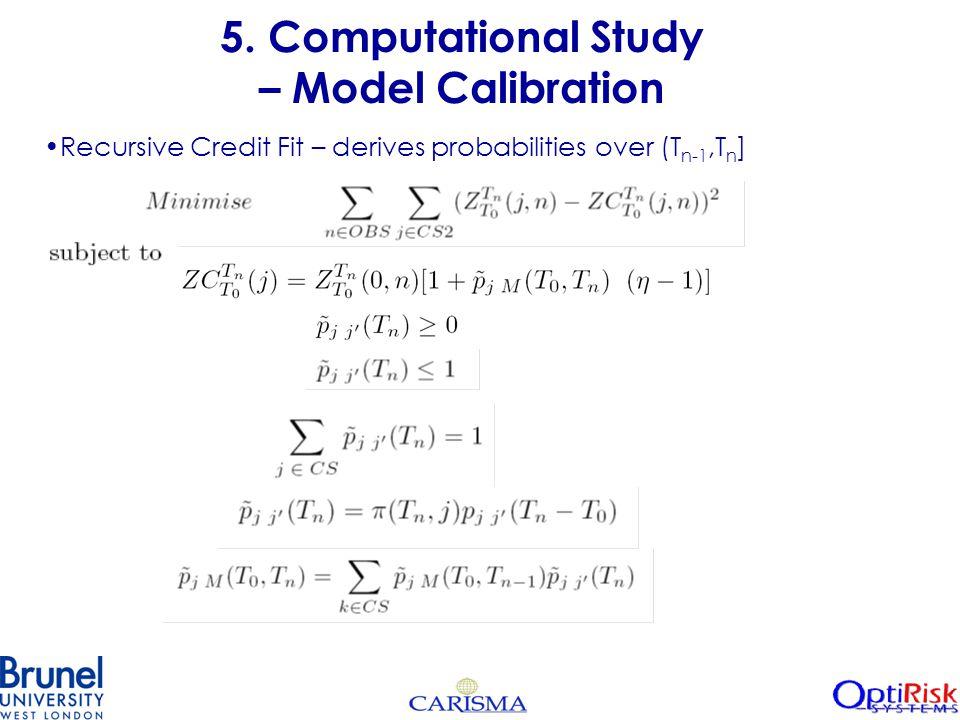 5. Computational Study – Model Calibration Recursive Credit Fit – derives probabilities over (T n-1,T n ]