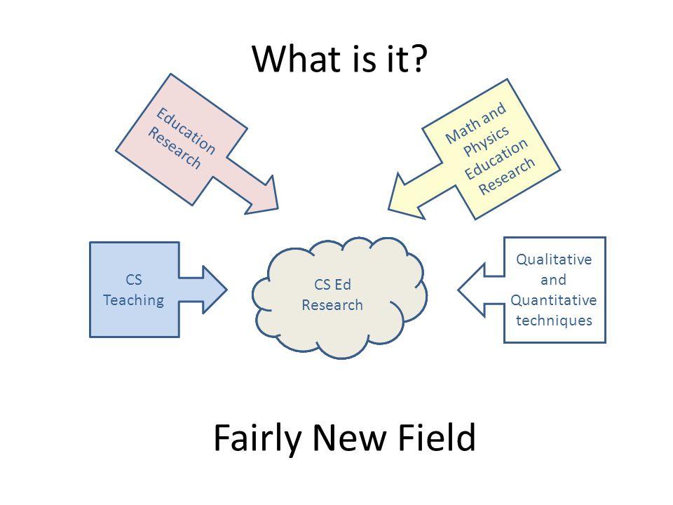 What is it? ?? CS Ed ?? Research CS Teaching Education Research Math and Physics Education Research Qualitative and Quantitative techniques CS Ed Rese