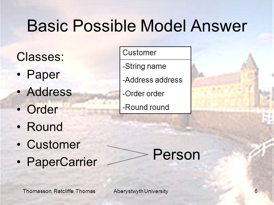 Thomasson, Ratcliffe, Thomas Aberystwyth University6 Basic Possible Model Answer Classes: Paper Address Order Round Customer PaperCarrier Person Custo