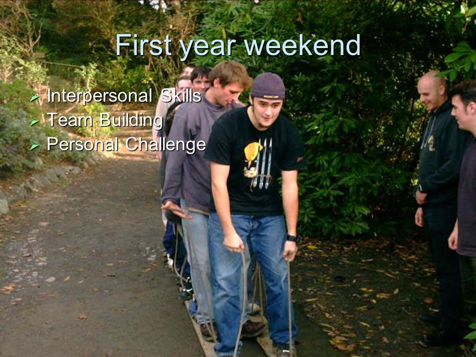 First year weekend  Interpersonal Skills  Team Building  Personal Challenge