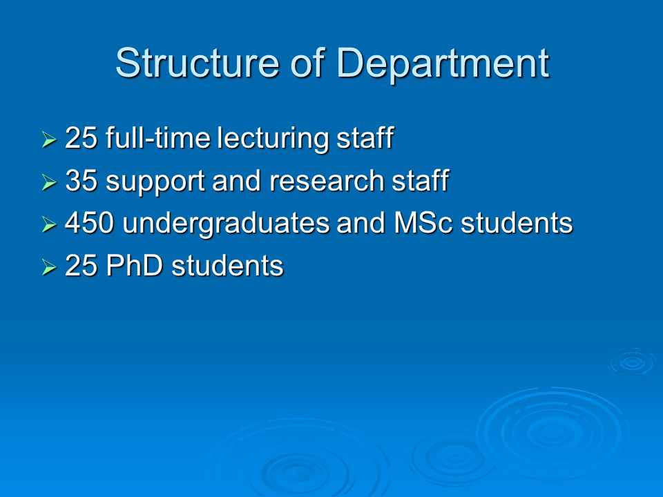 Structure of Department  25 full-time lecturing staff  35 support and research staff  450 undergraduates and MSc students  25 PhD students