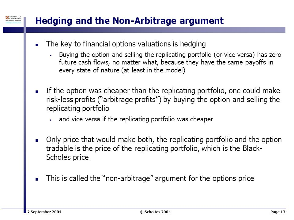 2 September 2004 © Scholtes 2004Page 13 Hedging and the Non-Arbitrage argument The key to financial options valuations is hedging Buying the option an