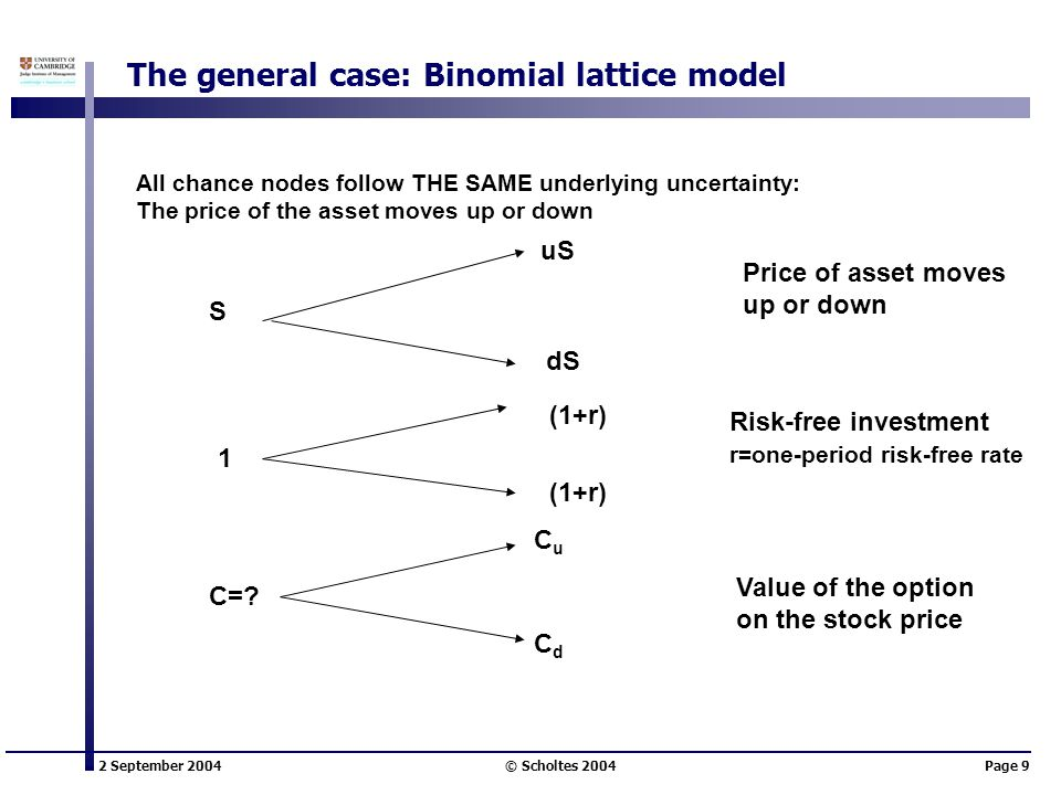 2 September 2004 © Scholtes 2004Page 9 The general case: Binomial lattice model S uS dS Price of asset moves up or down 1 (1+r) Risk-free investment r=one-period risk-free rate CuCu CdCd Value of the option on the stock price C=.