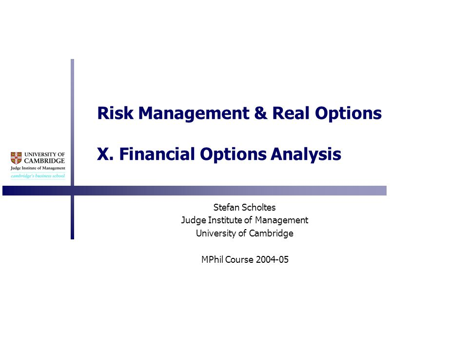 Risk Management & Real Options X.