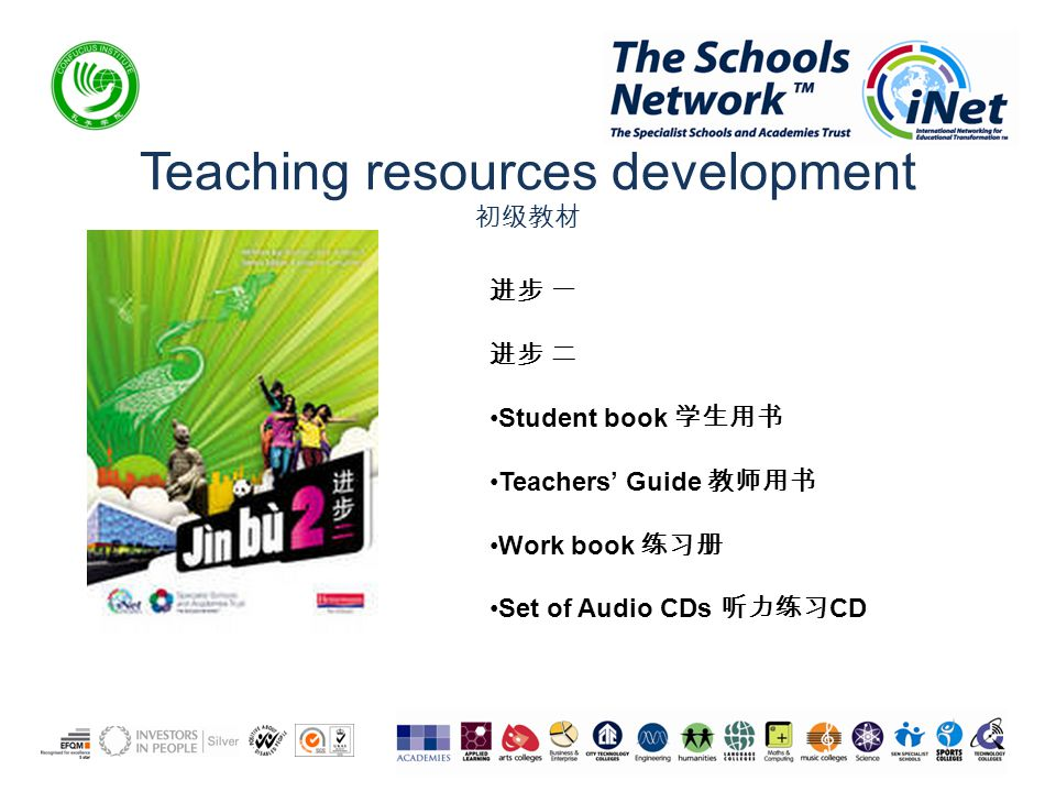 Teaching resources development 初级教材 进步 一 进步 二 Student book 学生用书 Teachers' Guide 教师用书 Work book 练习册 Set of Audio CDs 听力练习 CD