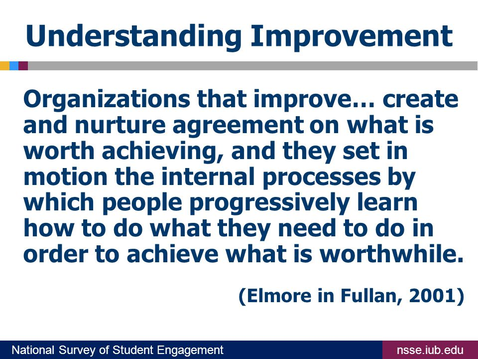 nsse.iub.eduNational Survey of Student Engagement Understanding Improvement Organizations that improve… create and nurture agreement on what is worth achieving, and they set in motion the internal processes by which people progressively learn how to do what they need to do in order to achieve what is worthwhile.