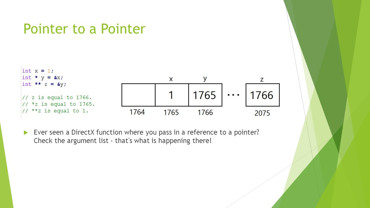 Pointer to a Pointer  Ever seen a DirectX function where you pass in a reference to a pointer.