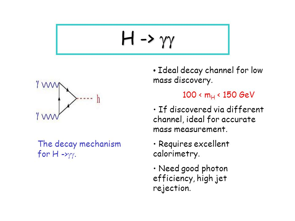 H ->  The decay mechanism for H -> . Ideal decay channel for low mass discovery.