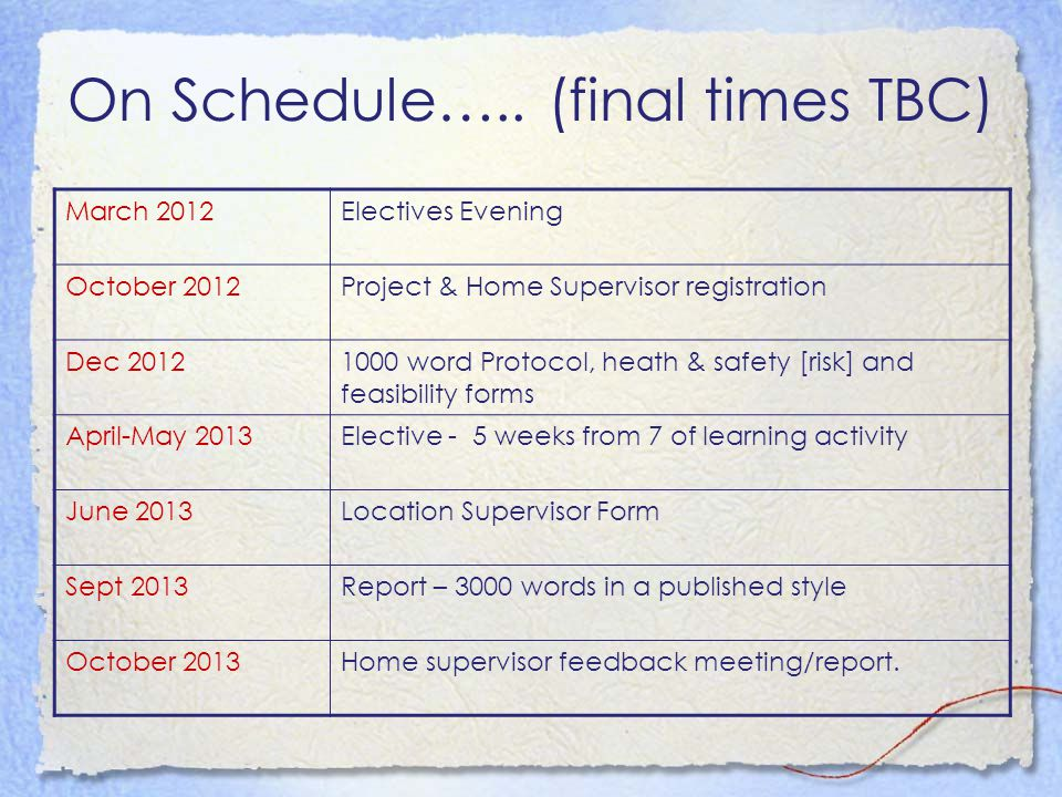 On Schedule….. (final times TBC) March 2012Electives Evening October 2012Project & Home Supervisor registration Dec 20121000 word Protocol, heath & sa