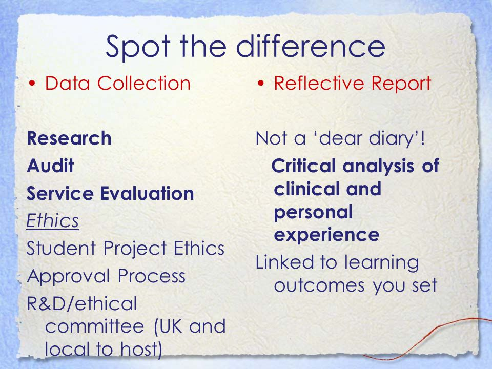Spot the difference Data Collection Research Audit Service Evaluation Ethics Student Project Ethics Approval Process R&D/ethical committee (UK and local to host) Reflective Report Not a 'dear diary'.